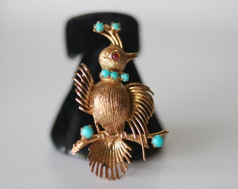 14K vintage bird pin ruby eye turquoise details
