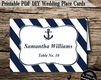 Instant Download- Printable PDF DIY White & Navy Nautical Anchor Beach Wedding Tent Style Template 4 Place Cards Per Sheet