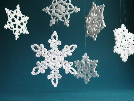items similar to 6 large crochet snowflake ornaments