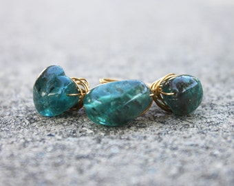 Chunky Wire Wrapped Ring with Apatite