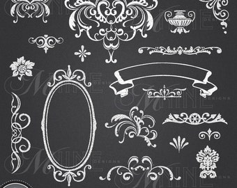CHALKBOARD Clipart VICTORIAN Clip A Rt Design Elements Instant