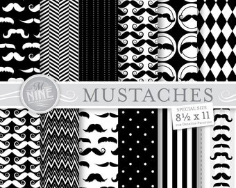 "BLACK & WHITE MUSTACHE Prints 8 1/2"" x 11"" Digital Paper Pattern Print, Instant Download, Mustaches Paper Pack Boy Patterns Scrapbook Print"