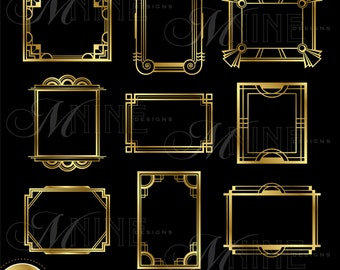 Gold ART DECO FRAME Clip Art: Art Deco Frames Design Elements Deco Borders Clipart, Instant Download