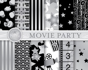 CLASSIC MOVIE PARTY Digital Paper: Movie Printable Pattern Print, Movie Party Download, 12 x 12 Hollywood Theme Patterns Scrapbook Print