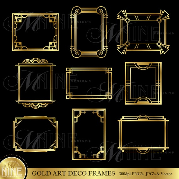 gold art deco frame clip art art deco frames design elements deco borders clipart