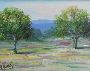 """Original art painting,Trees Landscape, Impressionist, 5""""x7"""" acrylic painting on canvas panel by Rachid Bouhouta. Shipping included"""