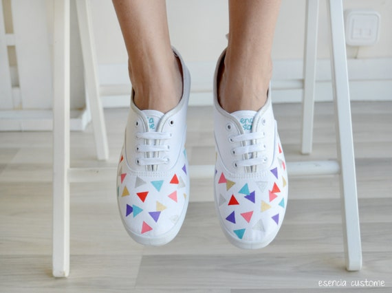 "Hand painted shoes  ""Geometric World"""