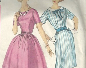 Simplicity 4257 Sewing Pattern - 1960s one piece dress with two skirts