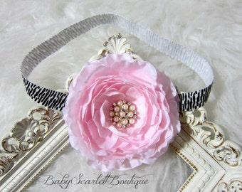 Light Pink Peony Flower Baby Headband,Girl Headband