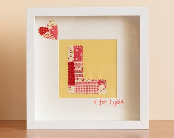 Personalised Framed Fabric Initial picture