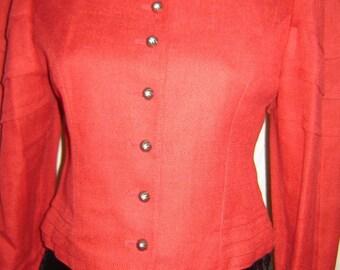 Sale - Red linen jacket Austrian/ Oktoberfest / German Style