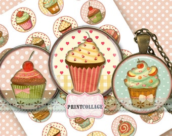 Cupcakes -Digital Printable Sheets Cabochon images 1.5inch 1inch 18,14mm round images Printable images Instant download C55