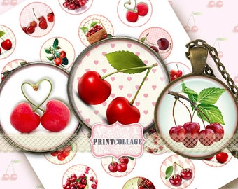 Cherries Digital Collage Sheet Printable images for Bottle Cap 1.5 inch 18mm 14mm 1inch circle Cabochon images Instant download c58