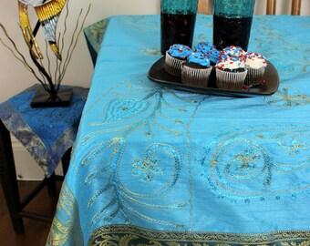 "Ornamental Embroidered Rectangular Tablecloth (Ocean Blue, 52"" X 70"")"