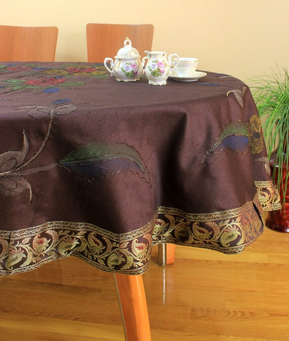 Hand painted floral round tablecloth coffee brown 85 for 85 inch tablecloths