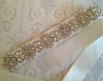 Crystal Bridal Sash-Rhinestone Wedding Dress Belt-Bridal Sash-Wedding Dress Belt