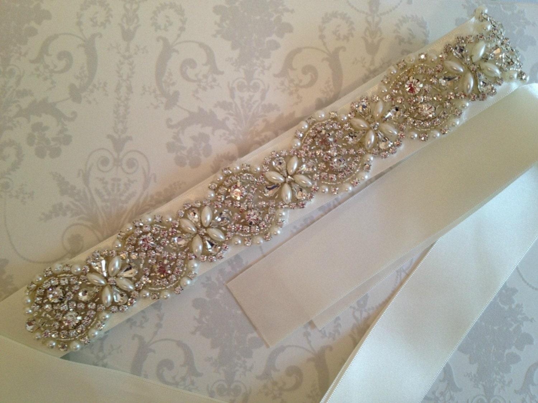 Crystal bridal sash rhinestone wedding dress belt bridal for Sparkly belts for wedding dresses
