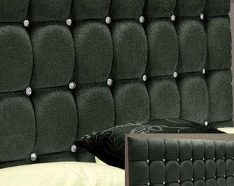 """Crystal Buttoned Charcoal 4ft6 Double 20"""" High Headboard"""