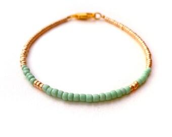 tiny bead bracelet - mint / gold - friendship bracelet  - dainty delicate gold jewelry - gift for her under 10