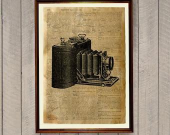 Dictionary print Old camera poster Vintage illustration Antique decor WA45