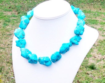 Lynda - Turquoise Howlite 30 - 40mm Freeform Nugget Gemstone and Faceted Czech Glass Beaded Necklace