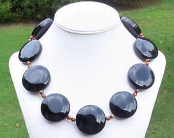 Sabrina Black - GORGEOUS Super Chunky 38mm Round Black Onyx Coin Gemstone Beaded Necklace