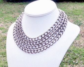 Duffy - Long Modern Chunky Dark Silver Chain Necklace - Can Be WORN MULTIPLE WAYS - High Fashion Look