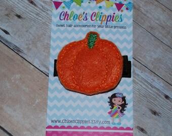 Pumpkin Hair Clippie - Halloween Felt Hair Clip - Fall Autumn Orange Hair Clippy Barrette - Thanksgiving Hair Clip for Baby - Felt Pumpkin
