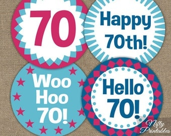 70th Birthday Cupcake Toppers - 70th Toppers - Printable 70th Birthday Decorations - 70th Favor Tags - Hot Pink Blue 70th Birthday Party