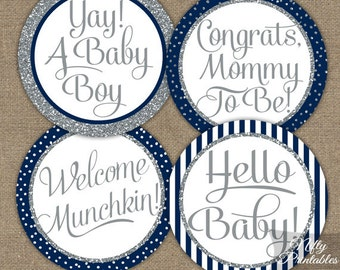 Boy Baby Shower Cupcake Toppers - Printable Navy Blue Baby Shower Toppers - Boy Baby Shower Toppers Favor Tags - Navy Blue & Silver - NSG