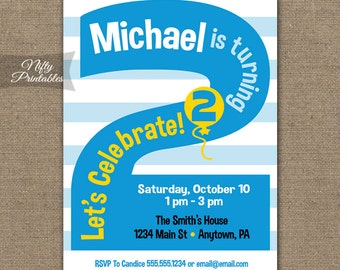 2nd Birthday Invitations Printable Second Invitation Party Blue Two Year