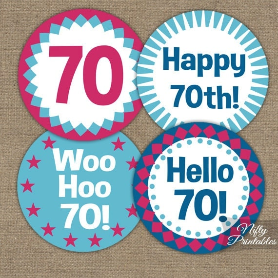 70th birthday cupcake toppers 70th toppers printable 70th for Decoration 70th birthday
