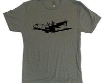 Unisex C-130 c130 cargo plane vintage retro style Tri-Blend super soft t-shirt