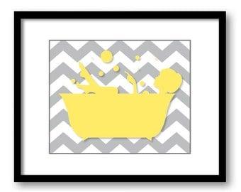 INSTANT DOWNLOAD Yellow Girl Grey Chevron in a Bath Tub Bathtub Printable Bathroom Print Art Print Wall Decor Modern Minimalist