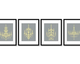INSTANT DOWNLOAD Grey Yellow Chandelier Set of 4 Printable Print Art Living Dining Room Bedroom Antique Vintage Wall Decor Modern Abstract