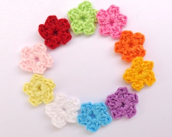 Tiny  Flowers 10pcs - 5 petals From Cotton Yarn-  Supplies For Clothing, Hair Clips, Handbags