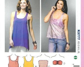 Sewing Pattern - Out of Print Misses Racer Back Tank, Tunic, Tube Top, Bra Top Kwik Sew  #K3777