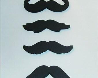"""100 Black cardstock mustaches 4"""" moustaches party favors mustache (3036M)"""