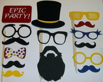 Photo Booth Prop Set Mustache, Beards, Glasses, Hats, 19 pieces (2091D)