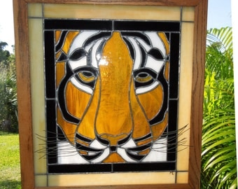 Tiger Stained Glass Panel