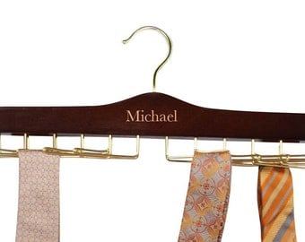 Engraved Personalized Wood Tie Rack.
