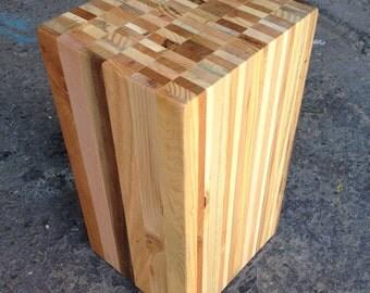 Reclaimed Pallet Wood Stump / Stool / End Table