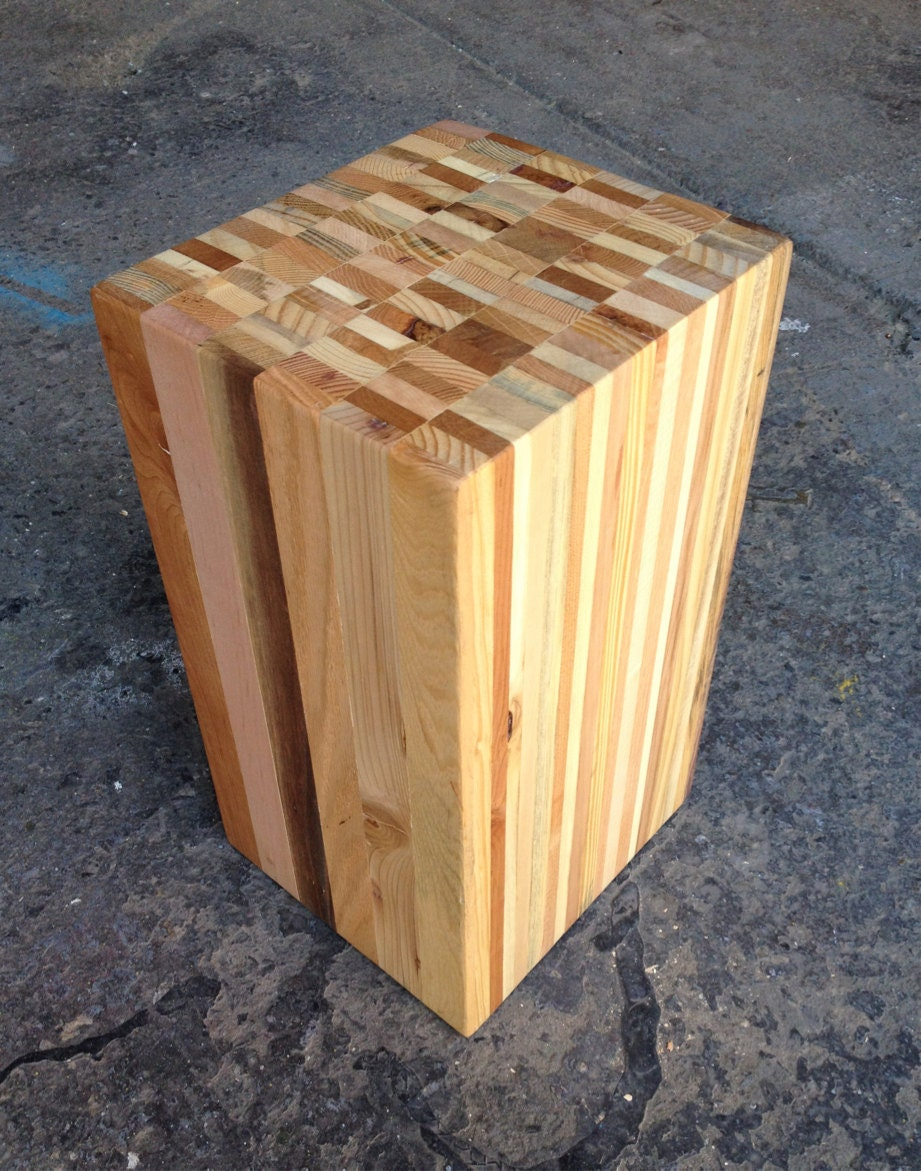 Reclaimed pallet wood stump stool end table for Wood stump end table