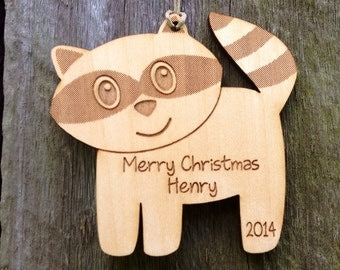 Personalized Ornament: Little Rascal Raccoon Ornament; Woodland Ornament, Custom Christmas Ornament, Baby's First Christmas Ornament