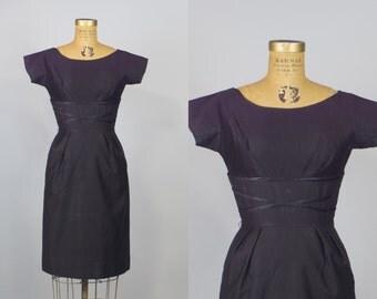 50s Dress / Black Dress / 50s Wiggle Dress