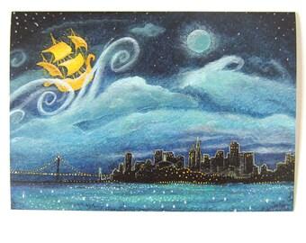 Greeting Card: San Francisco Skyline at Night, Neverland, Peter Pan; the City