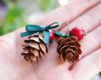 CHRISTMAS COLLECTION: Real Christmas pinecore/pine corn earrings,christmas earrings,party earring,unusual festival earrings,natural pinecone