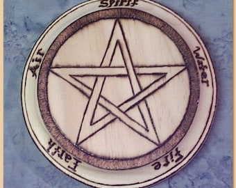 "5"" x 1"" Thick Pine Wood Pentagram Pentacle with Elements Altar Tool for Wicca Pagan Magick All Natural Hand Drawn"