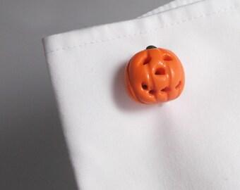 By the Shed Pumpkin Orange Vegetable Cufflinks - Silver Plated - Allotment - Vegetarian - Gardening - Vegetable - Fruit - Halloween - Fun
