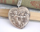 Victorian Mermaid Necklace, Nouveau Pendant, Siren Seahorse Pendant, Antiqued Silver Jewelry